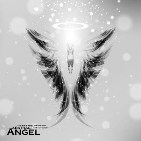 Angel futuristic background, wing illustration