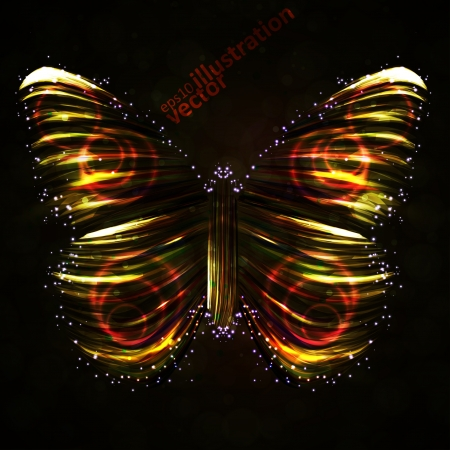 Shiny Butterfly abstract, futuristic colorful strip, stylish illustration