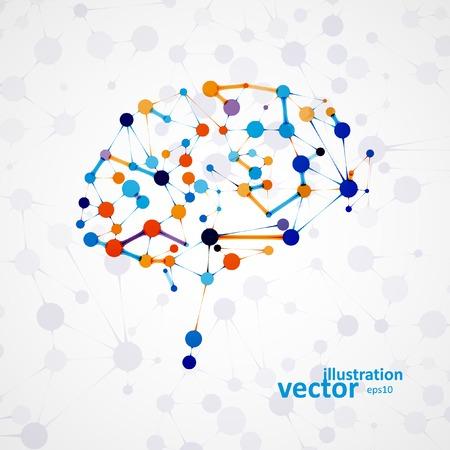 Illustration pour Molecular structure in the form of brain, futuristic vector illustration - image libre de droit