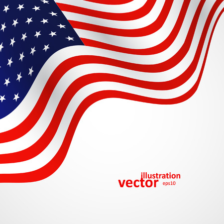 Closeup of American flag on white background, vector illustration