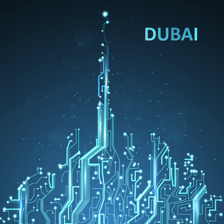 Photo pour Technology image of Dubai. - image libre de droit