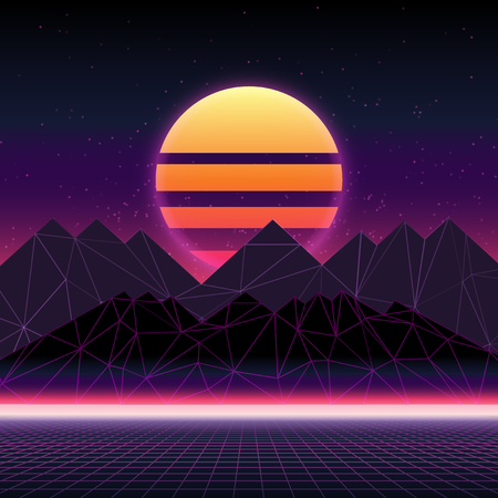 Illustration pour Futuristic retro landscape of the 80`s. Abstract illustration of sun with mountains. Digital retro cyber surface. Wireframe landscape background - image libre de droit