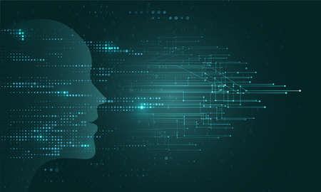 Illustration pour Artificial Intelligence illustration. Artificial intelligence and machine learning concept. Digital computer code. Data transfer concepts in internet. - image libre de droit