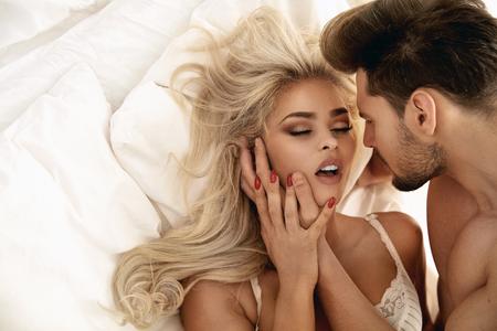 Photo pour Romantic style portrait of a young couple in the bright  bedroom - image libre de droit