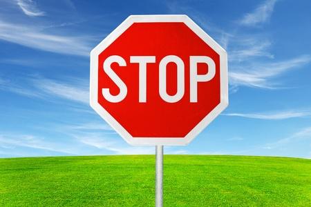 roadside stop sign in outdoor