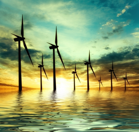 Photo for eco power, wind turbines - Royalty Free Image