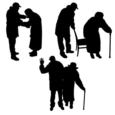 Illustration pour Vector silhouette of old people on a white background. - image libre de droit