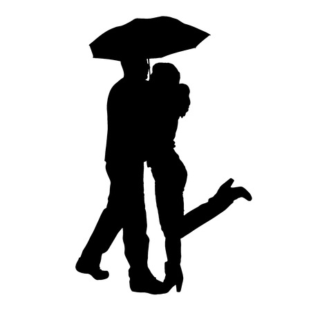Vector silhouette of couple with umbrellas on white background.のイラスト素材
