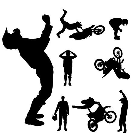 Vector silhouette of a motocross rider on a white background.