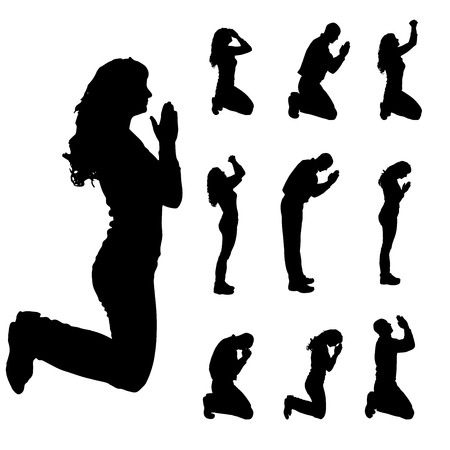 Illustration pour Vector silhouette of people who pray on a white background.  - image libre de droit