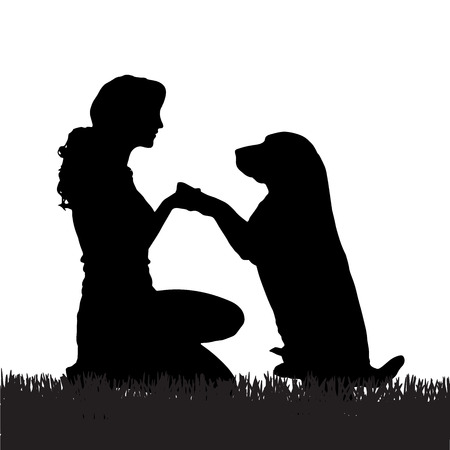 Vector silhouette of a woman with a dog on a walk.