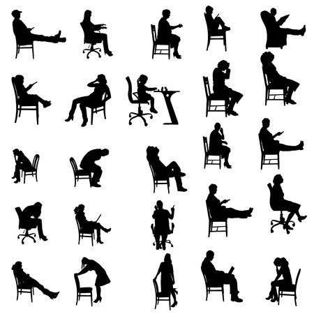 Illustration for Vector silhouettes of people sitting in a chair. - Royalty Free Image