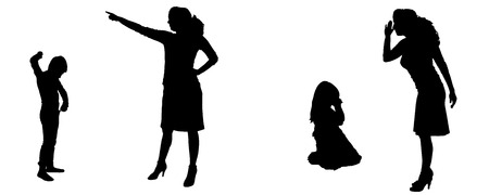 Vector silhouette of family in different positions.