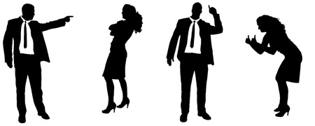 Vector silhouette of people in different positions.