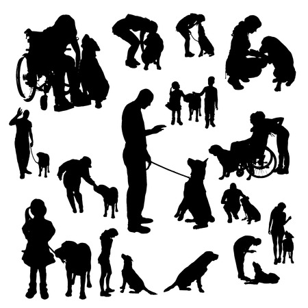 Vector silhouette of people with a dog on a white background.のイラスト素材