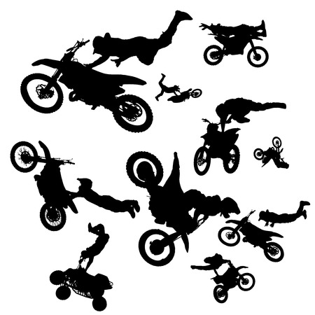 vector silhouette of a biker who jumps into the air.