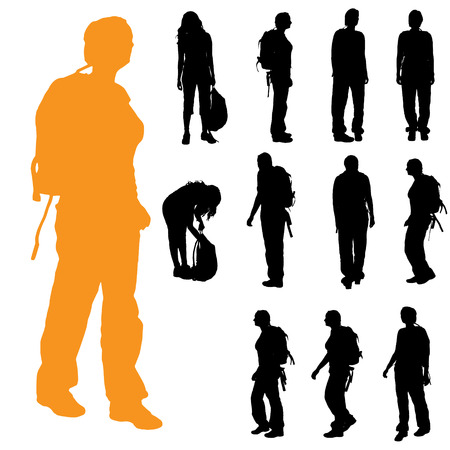 Illustration pour Vector silhouette of a woman with a backpack on a white background. - image libre de droit