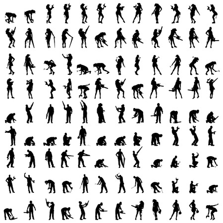 Illustration pour Vector silhouette of a people who is a worker and has the tools. - image libre de droit