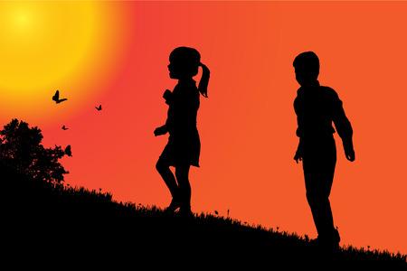 Illustration pour Vector silhouette of a children at sunset. - image libre de droit