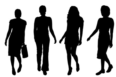 Vector silhouettes of women on a white background.