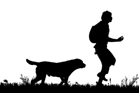vector silhouette of the man with dog for a walk royalty free vector graphics vector silhouette of the man with dog