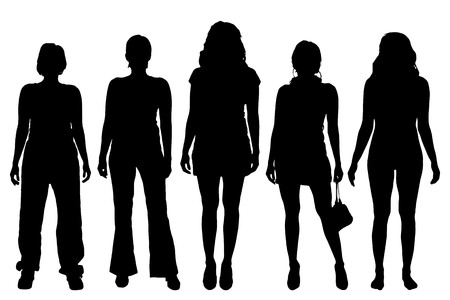 Vector women silhouette on a white background.
