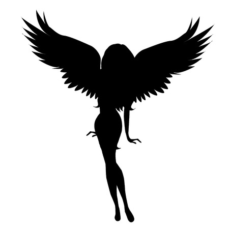 Illustration pour Vector silhouette of a woman with wings on a white background. - image libre de droit