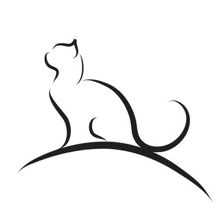 Illustration for Vector illustration of cat logo on a white background. - Royalty Free Image