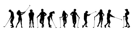 Illustration for Vector silhouette of people on white background. - Royalty Free Image