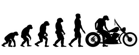 Illustration pour Vector evolution motorbike silhouette on white background - image libre de droit
