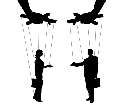 Vector illustration silhouettes man and woman of symbol manipulation