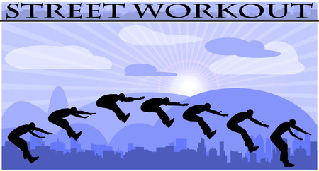 Vector illustration silhouettes of street workout people on city background