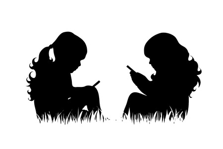 Illustration for Vector silhouette of girls with phone sit in the grass on white background. - Royalty Free Image