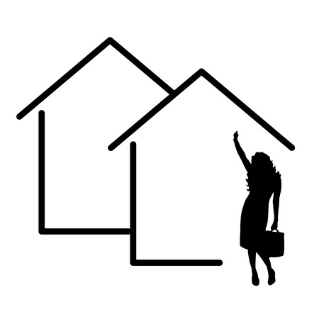 Vektor für vector illustation house icon with woman real estate agent silhouette - Lizenzfreies Bild