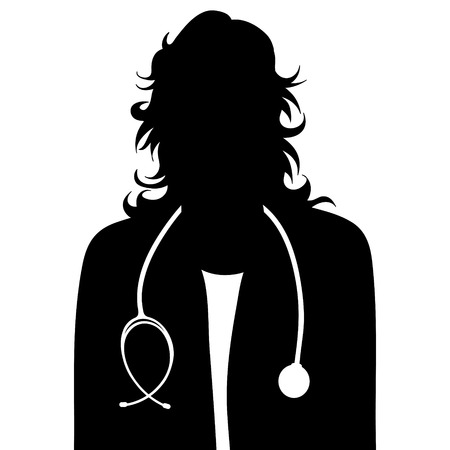 Vector silhouette of doctor with coat and stethoscope on white background. Symbol of healthy and hospital.