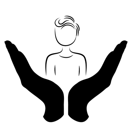 Vector silhouette of a hand in a defensive gesture protecting a man. Symbol of insurance, people, protection,