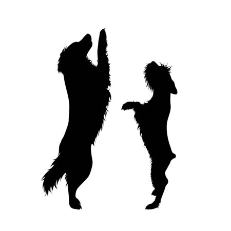 Illustration pour Vector silhouette of couple of dogs. Symbol of animal friends on white background. - image libre de droit