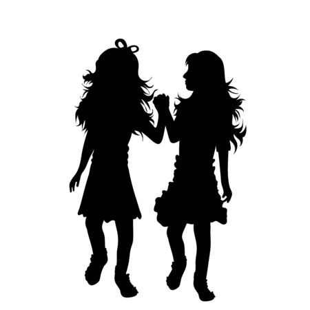 Illustration for Vector silhouette of siblings on white background. Symbol of family, daughter, sister,friends, twins. - Royalty Free Image