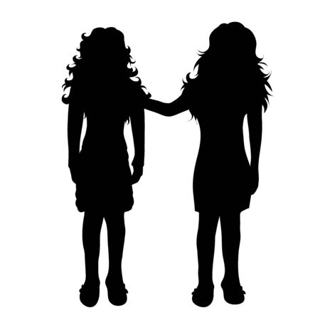 Illustration for Vector silhouette of children´s friends on white background. Symbol of child, girl,siblings,sister. - Royalty Free Image