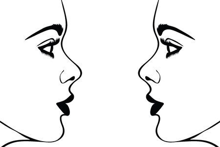 Illustration for Vector silhouete of woman´s face on white background. Symbol of girl, pretty, nice, fashion, people, person, twins. - Royalty Free Image