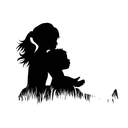 Illustration for Vector silhouette of siblings in the grass on white background. Symbol of girl, boy, sister, brother, baby,family, infant, childhood, nature, park, garden. - Royalty Free Image