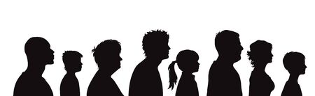 Illustration pour Vector silhouette of profile of people on white background. Symbol of genaration family. - image libre de droit