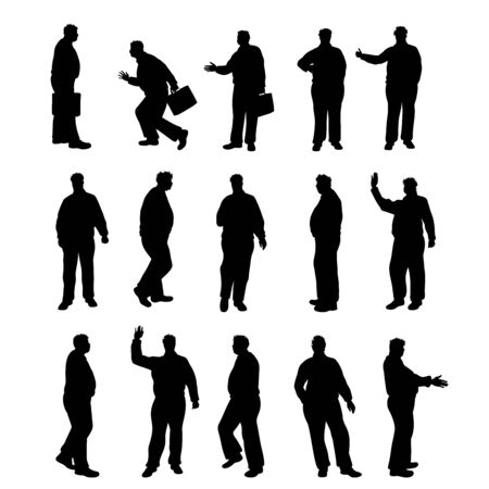 Illustration pour Set of vector silhouette of obese men on white background. Symbol of elderly people in different pose. - image libre de droit