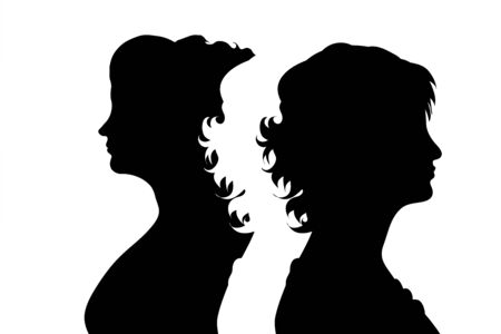 Illustration for Vector silhouette of couple. Symbol of adult woman. - Royalty Free Image