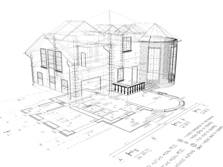 The house 3D image on a background the plan