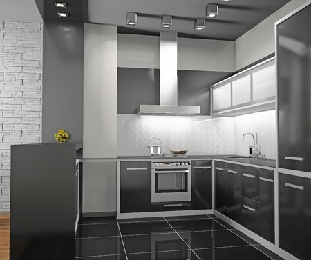Interior of modern kitchen (3D)