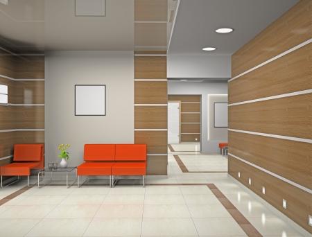 Hall a modern office (3D)