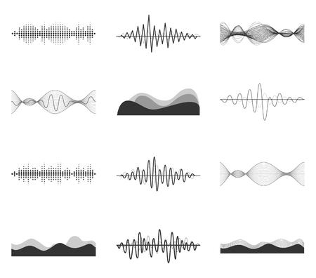 Vector sound waves set. Audio Player. Audio equalizer technology, pulse musical. Vector illustration.