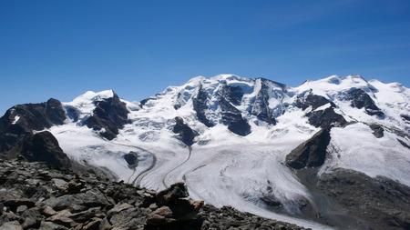 Piz Palu and glacier in the Swiss Alps near Diavolezza