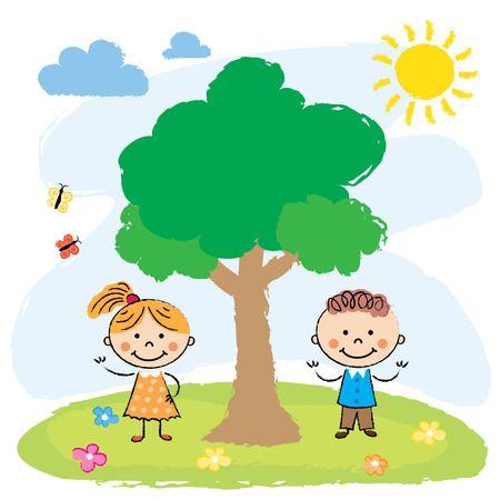 Illustration of the two adorable little kids playing at the hilltop near the tree